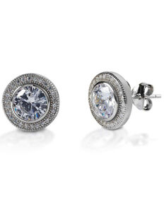 Kelly Herd Women's Round Bezel Set Pave Earrings , Silver, hi-res