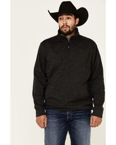 George Strait By Wrangler Men's Black Knit 1/4 Zip Pullover , White, hi-res
