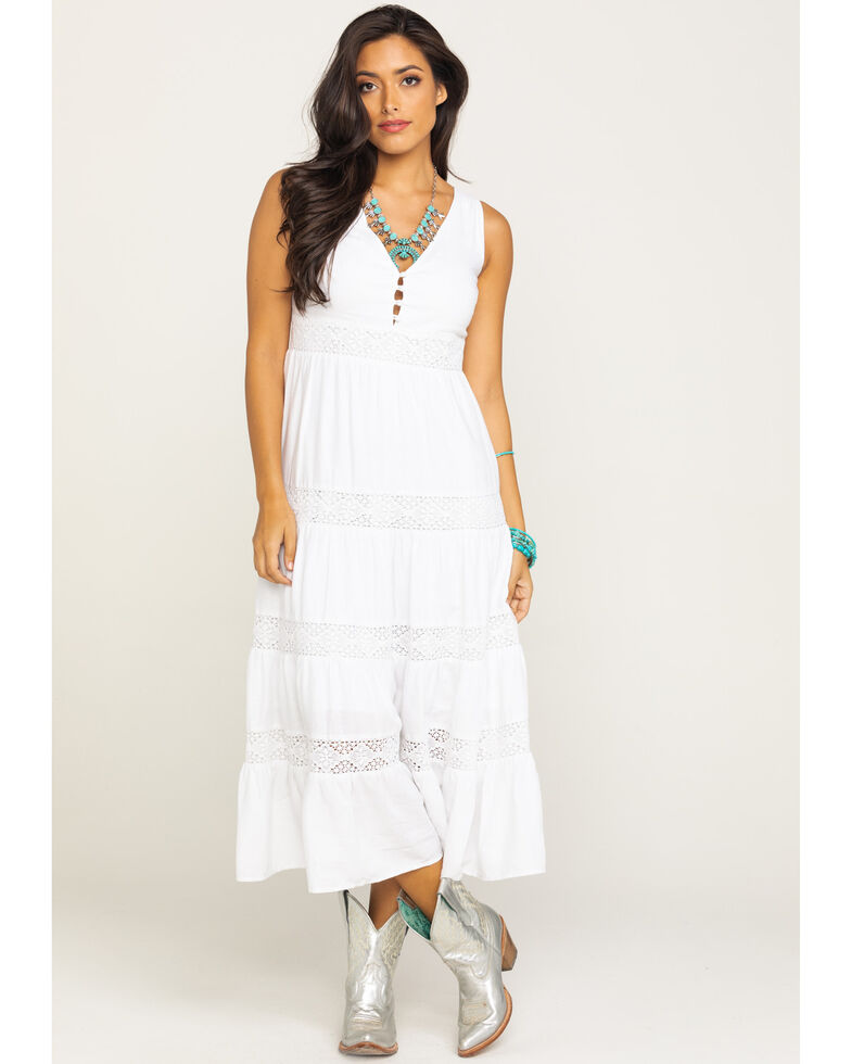 Stetson Women's White Tiered Midi Dress , White, hi-res