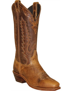 Abilene Women's Antiqued Cowhide Western Boots - Square Toe, Tan, hi-res