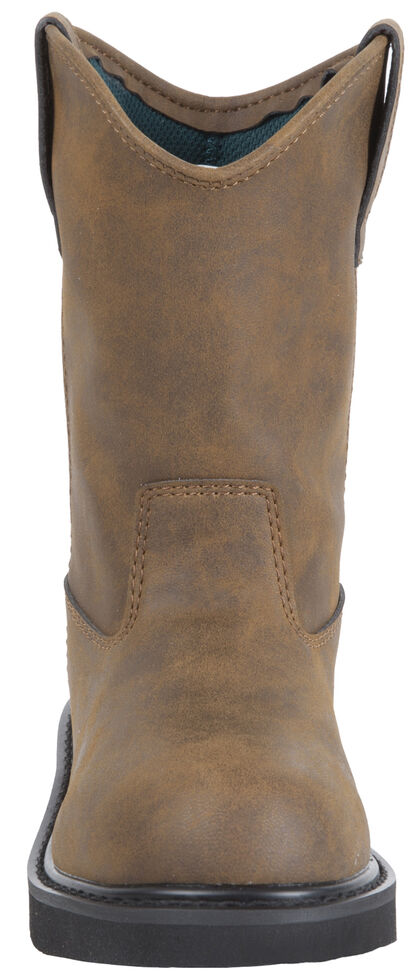 Georgia Youth Boys' Pull-On Work Boots - Round Toe, Brown, hi-res