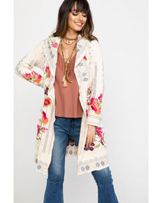 Johnny Was Women's Peryl Short Hoodie Cardigan, Cream, hi-res