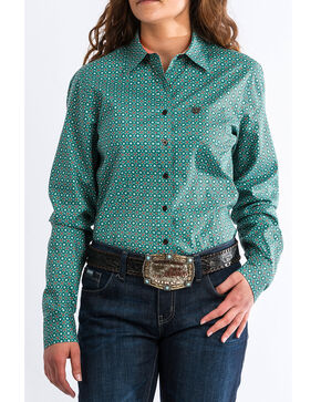 Cinch Women's Western Core Turquoise Geo Long Sleeve Button Down Shirt, Turquoise, hi-res
