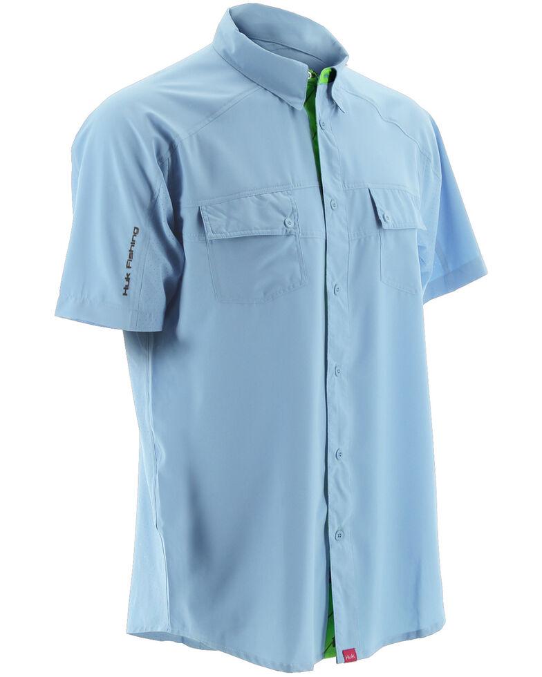 Huk Performance Fishing Men's Next Level Woven Short Sleeve Shirt , Light Blue, hi-res