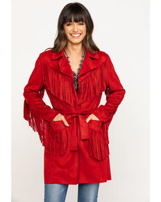 Powder River Outfitters Women's Red Faux Suede Fringe Trench Coat, Red, hi-res