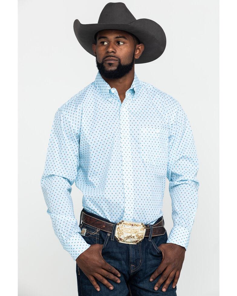 Wrangler Men's Classic Blue Geo Print Long Sleeve Western Shirt , Blue, hi-res