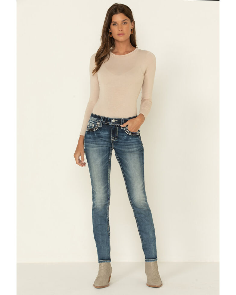"Miss Me Women's Dark Chain Whipstitch Flap Pocket 30"" Skinny Jeans, Blue, hi-res"