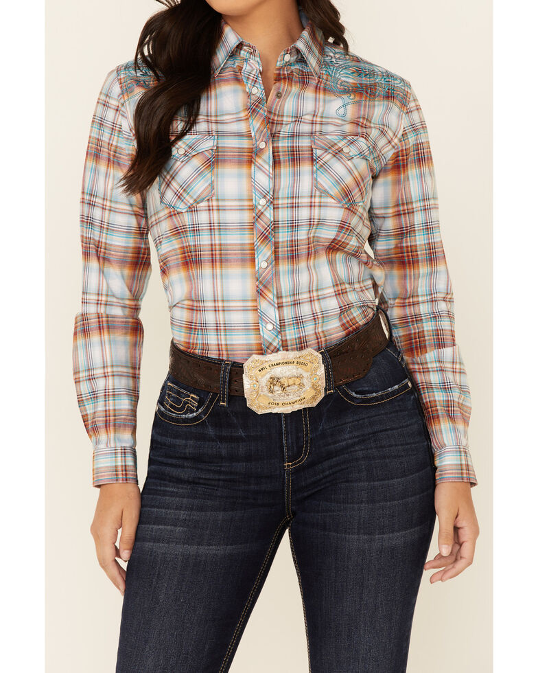 Panhandle Women's Rust Copper Plaid Embroidered Stretch Long Sleeve Snap Western Core Shirt , Rust Copper, hi-res