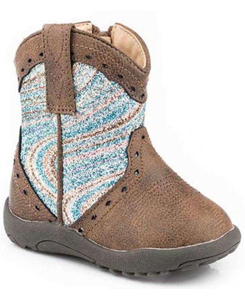 Roper Infant Girls' Glitter Swirl Poppet Boots - Round Toe, Brown, hi-res