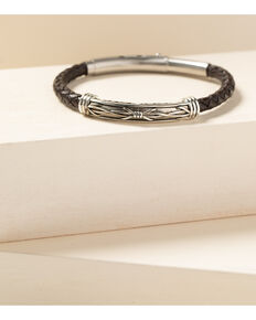 Cody James Men's Barbed Wire Roped Leather Bracelet, Silver, hi-res