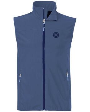 HOOey Men's Blue Softshell Zip-Front Vest , Blue, hi-res