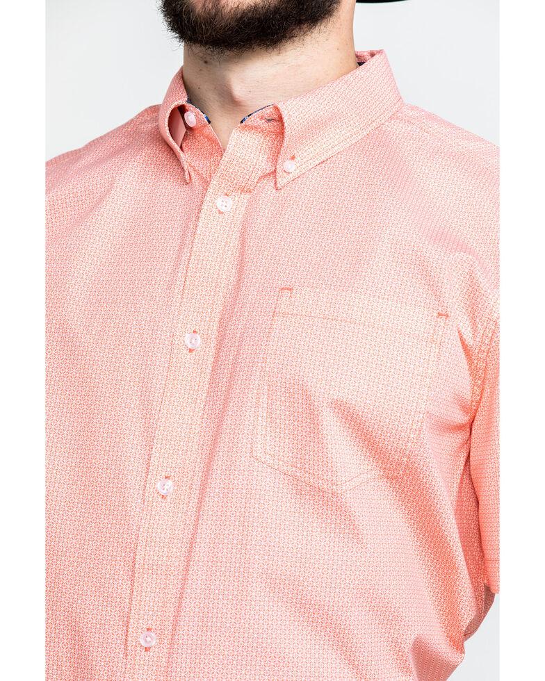 Cody James Core Men's Interlock Geo Print Short Sleeve Western Shirt , Coral, hi-res
