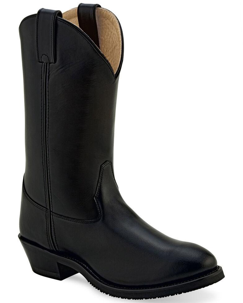 Old West Men's Leather Uniform Boots - Medium Toe, Black, hi-res