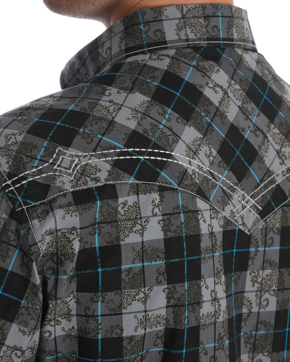 Rock 47 by Wrangler Men's Black Plaid Long Sleeve Western Shirt , Black, hi-res