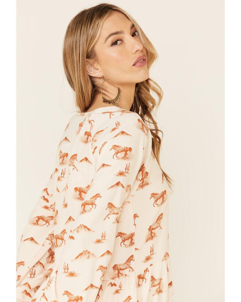 Wrangler Women's Allover Horse Print Tiered Dress, White, hi-res