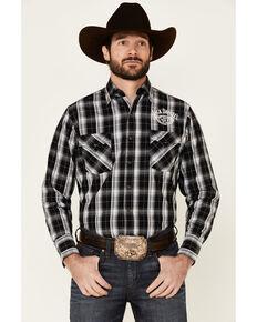 Jack Daniel's Men's Black Plaid Logo Long Sleeve Snap Western Shirt , Black, hi-res
