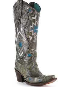"""Corral Boots Women's 15"""" Aztec Embroidered Western Boots - Snip Toe, Silver, hi-res"""