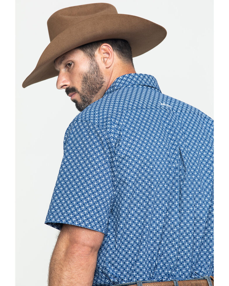 Ariat Men's Gladview Stretch Geo Print Short Sleeve Western Shirt - Big , Blue, hi-res