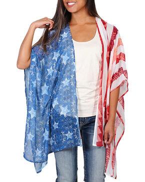 Eyeshadow Women's American Flag Kimono - Plus, Red/white/blue, hi-res