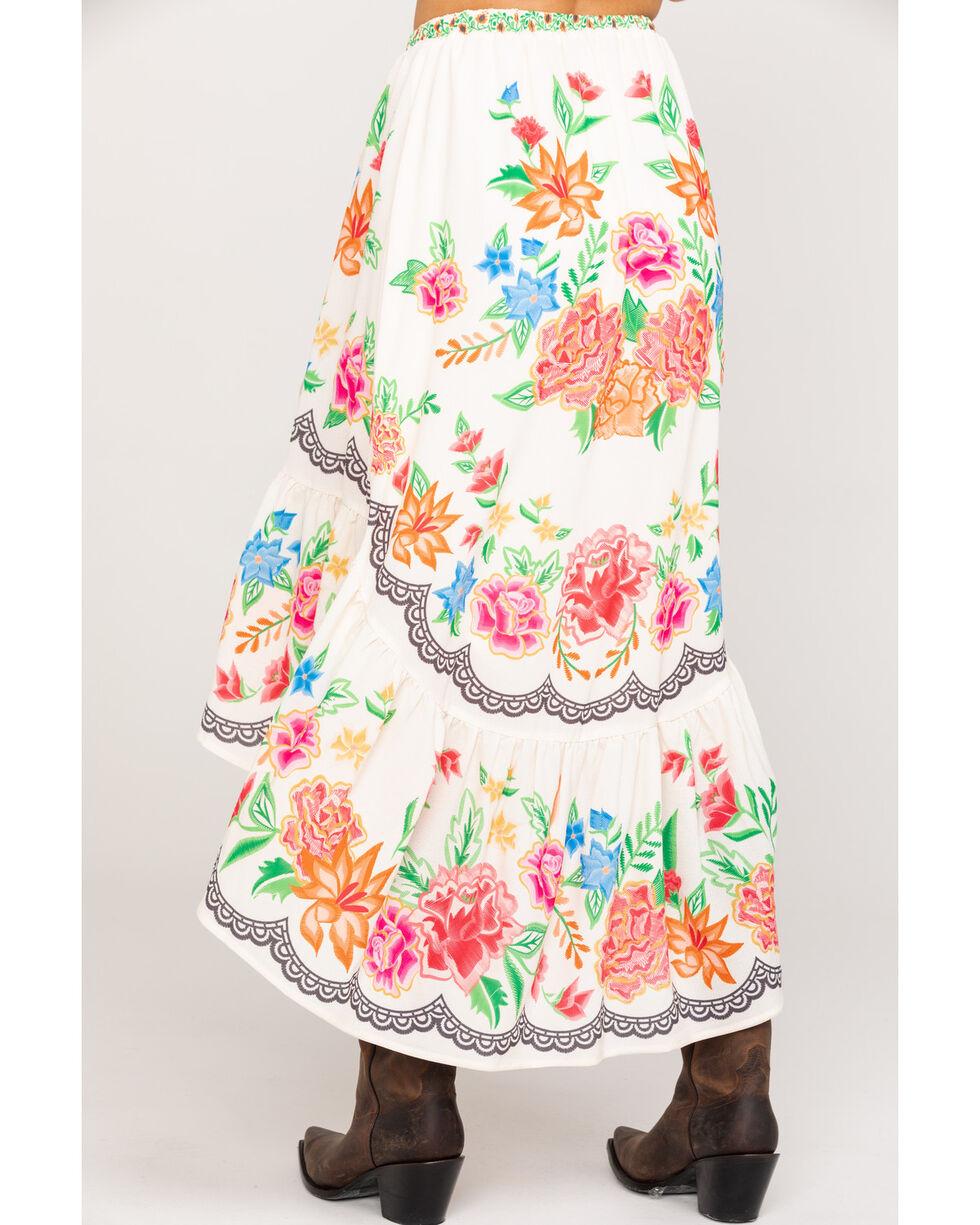Flying Tomato Women's Floral Hi-Lo Skirt, Ivory, hi-res