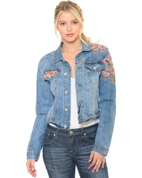 Grace in LA Women's Indigo Azalea Denim Jacket , Indigo, hi-res