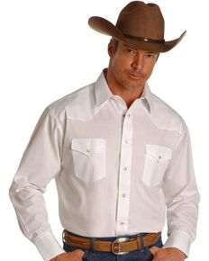 Wrangler Men's White Solid Long Sleeve Western Shirt - Big & Tall, White, hi-res
