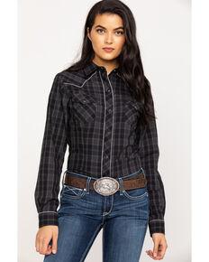 Roper Women's Plaid Guitar Embroidered Long Sleeve Western Shirt, Black, hi-res