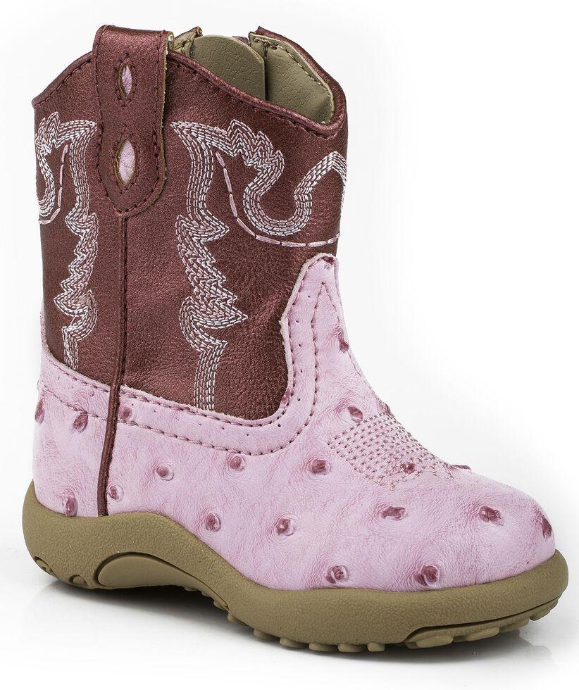 Roper Infant Boys' Ostrich Print Cowboy Boots - Round Toe, Pink, hi-res