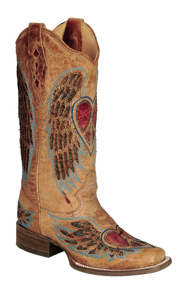 Corral Distressed Heart And Wing Inlay Cowgirl Boots   Square Toe by Corral