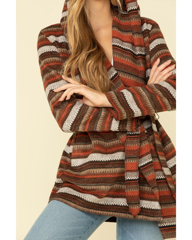 Cripple Creek Women's Orange Striped Blanket Wrap Jacket , Orange, hi-res