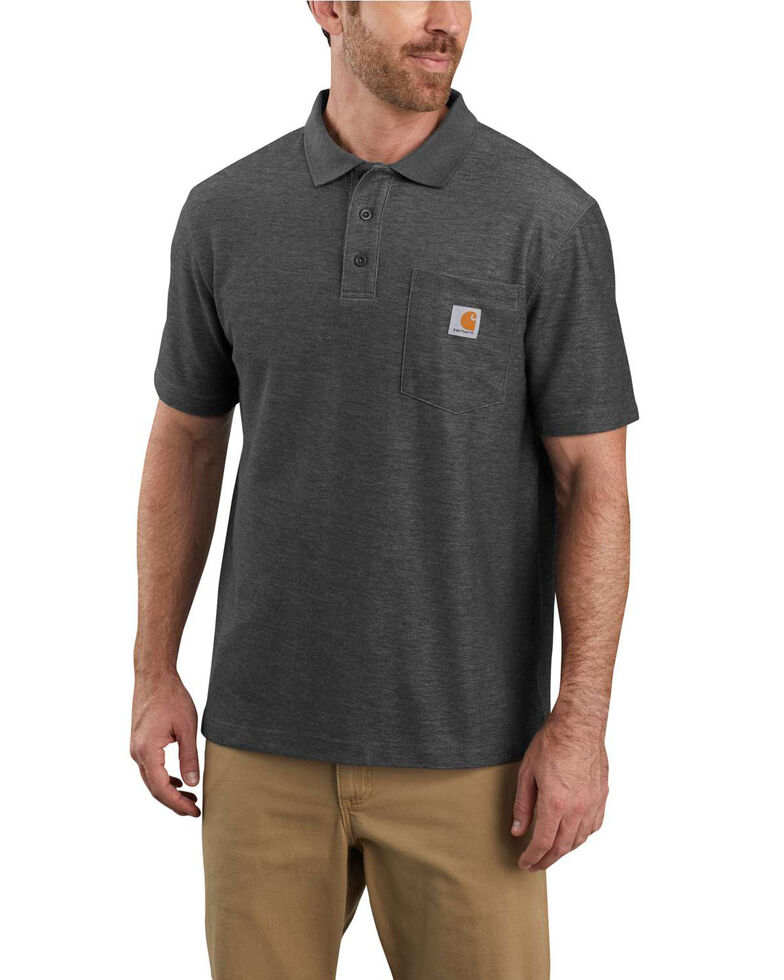 Carhartt Men's Contractors Work Pocket Short Sleeve Polo Shirt - Big , Heather Grey, hi-res