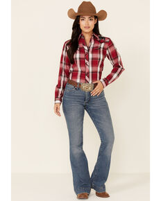 Roper Women's Red Plaid Bull Embroidered Yoke Long Sleeve Snap Western Core Shirt , Red, hi-res