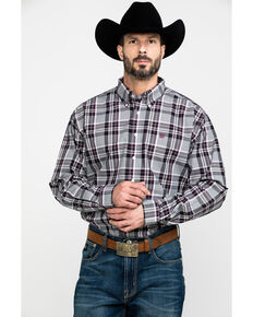 Cinch Men's Multi Large Plaid Woven Long Sleeve Western Shirt , Purple, hi-res
