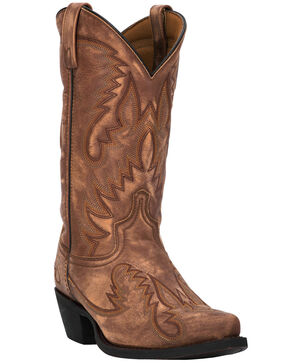 Laredo Women's Garret Fancy Stitch Cowgirl Boots - Snip Toe, Tan, hi-res