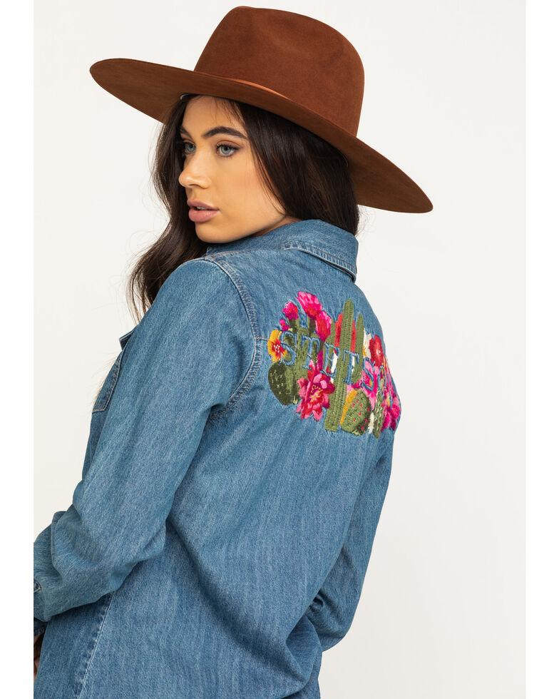 Stetson Women's Denim Desert Embroidered Long Sleeve Western Shirt, Blue, hi-res