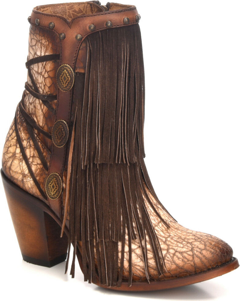 Corral Women's Sanded Tobacco Fringe Boots - Round Toe, , hi-res
