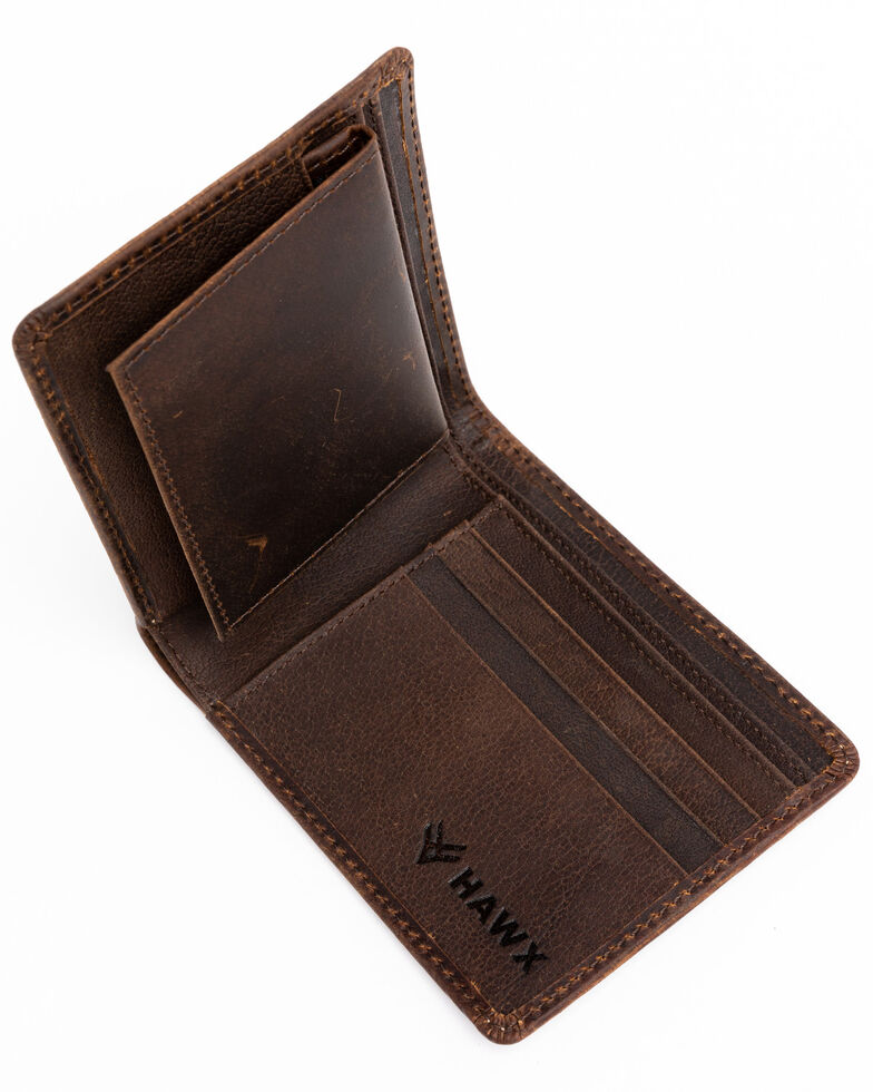Hawx Men's Bifold Horizontal Wallet, Brown, hi-res