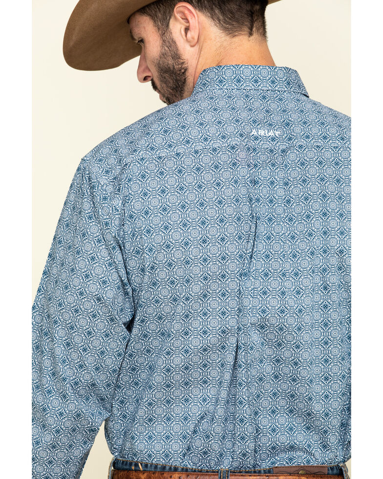 Ariat Men's Rutherford Stretch Geo Print Long Sleeve Western Shirt - Big , Navy, hi-res