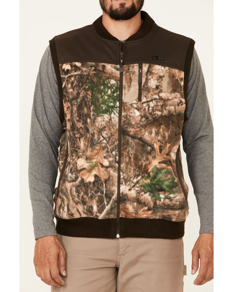 Wrangler ATG Men's All-Terrain Realtree Camo Fleece Zip-Front Bomber Vest, Camouflage, hi-res