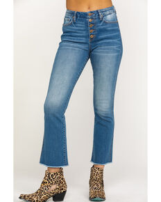 Miss ME Women's Button Front Basic Crop Boot Jeans, Blue, hi-res