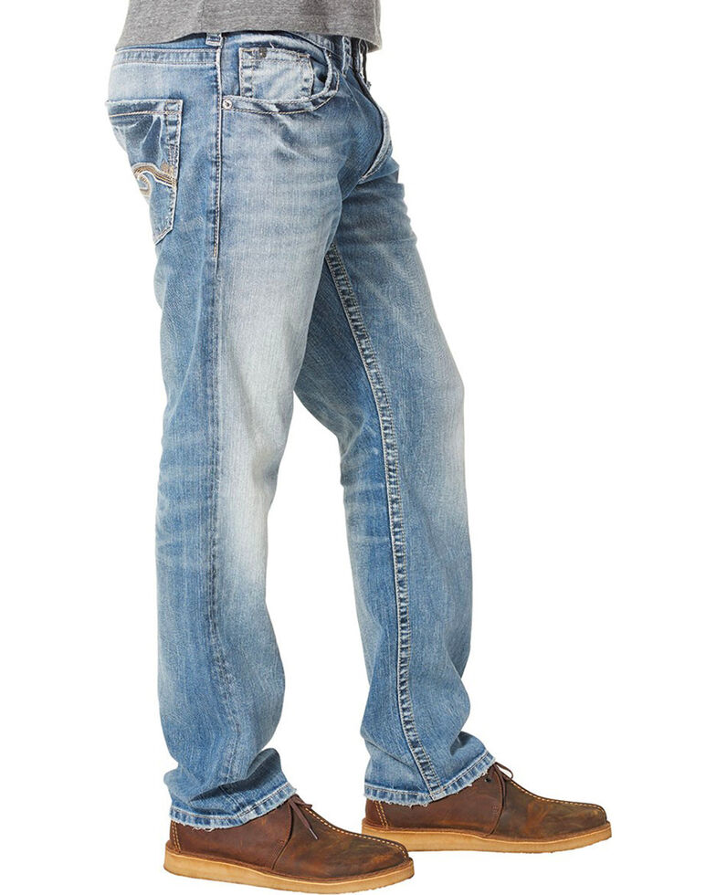 Silver Men's Eddie Relaxed Fit Tapered Leg Jeans, Indigo, hi-res