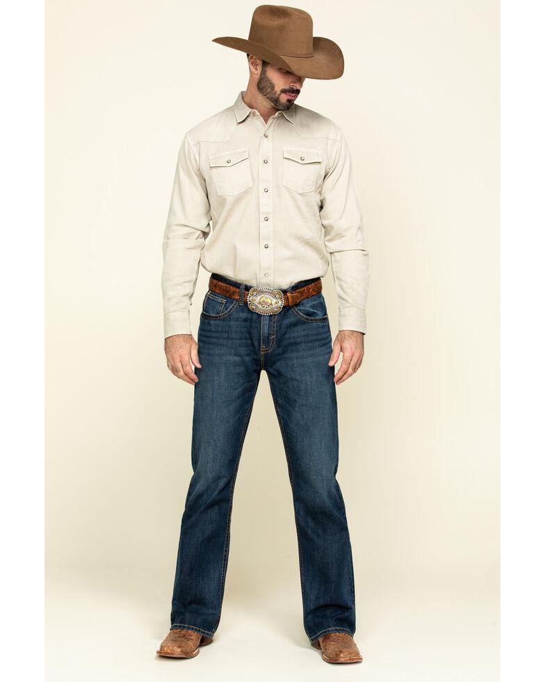 Ariat Men's Beige Jurlington Retro Solid Long Sleeve Western Shirt , Beige/khaki, hi-res