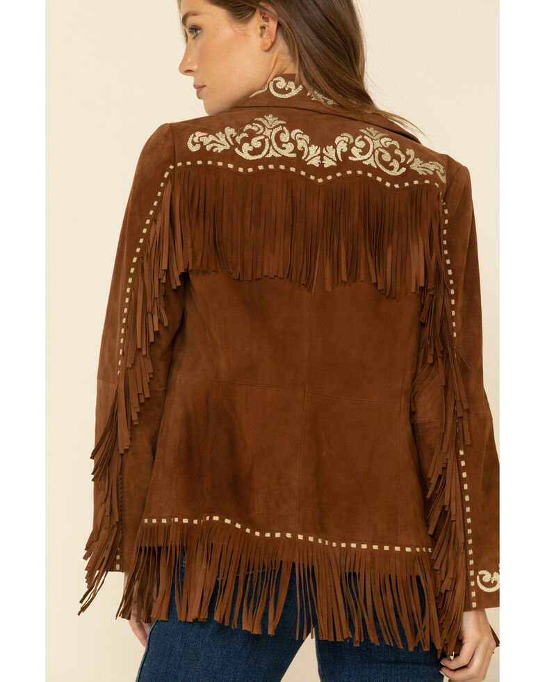 Scully Women's Cinnamon Longer Embroidered Fringe Suede Jacket , Tan, hi-res