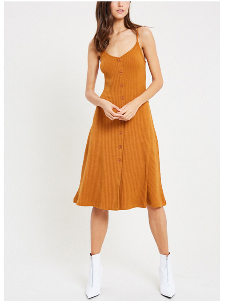 Wishlist Women's Rib Button-Front Dress, Orange, hi-res