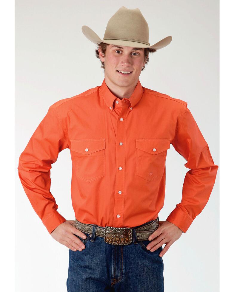Roper Men's Orange Solid Long Sleeve Western Shirt, Orange, hi-res