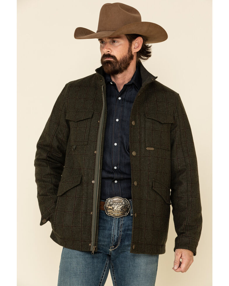 Powder River Outfitters Men's Olive Heather Plaid Coat , Olive, hi-res