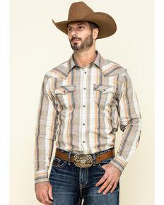 Cody James Men's Coal Miner Large Plaid Long Sleeve Western Shirt , Beige/khaki, hi-res