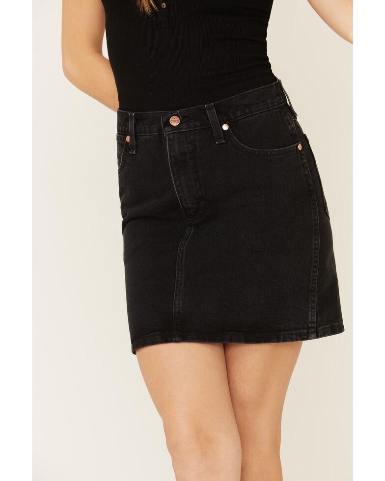 Wrangler Modern Women's Black High Rise Denim Skirt, Black, hi-res