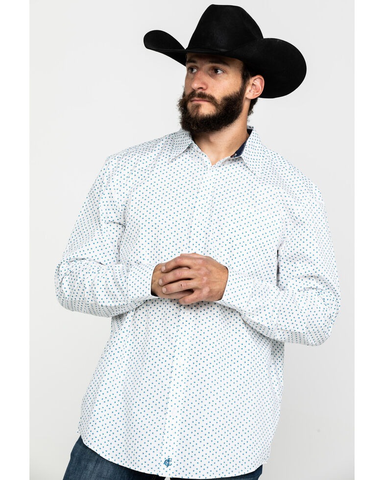 Cody James Core Men's Smoky Hill Geo Print Long Sleeve Western Shirt , White, hi-res