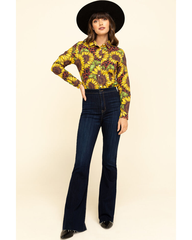 Ranch Dress'n Women's Sunflower Leopard Long Sleeve Western Shirt, Gold, hi-res